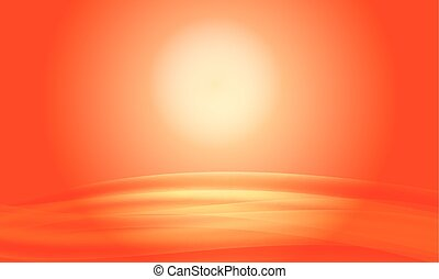 Vector red abstract background sunset with waves