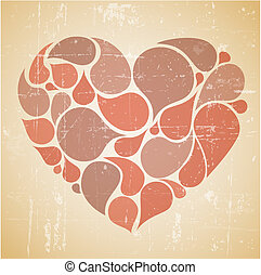 Vector red abstract retro heart