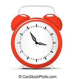Vector Red Alarm Clock Isolated on White Background. Clock Cartoon.