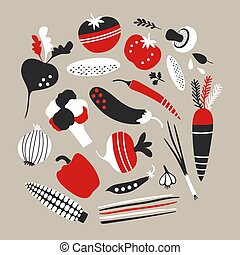 Vector red and black vegetables