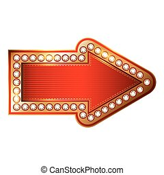 Vector Red and Gold arrow with diamonds isolated on white background.