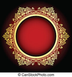 Vector red and gold frame