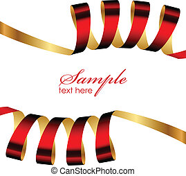 Vector red and gold ribbon frame