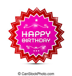Vector Red and Pink Happy Birthday Label on White Background