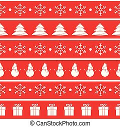 Vector red and white Christmas seamless pattern. Horizontal seam