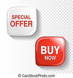 Vector red and white glossy button on transparent background, plastic square label with text - Special offer, Buy now.