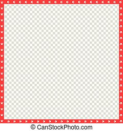 Vector red and white square border made of animal paws print isolated