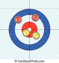 vector red and yellow curling stones