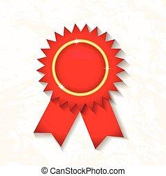 Vector red award badge with ribbon.