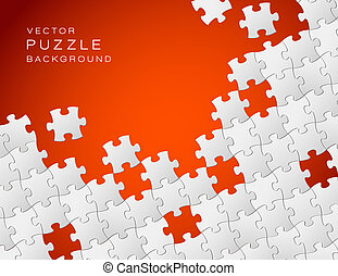 Vector red background made from white puzzle pieces