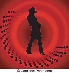 Vector red background with a girl in a hat
