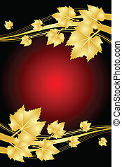 red background with gold leaves