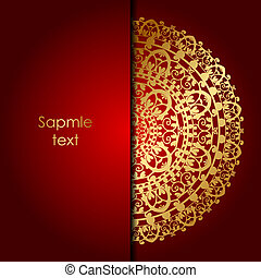red background with gold ornament