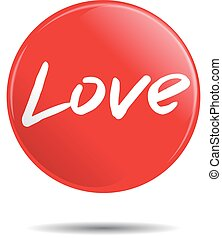 Vector red badge with LOVE word.