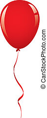 vector red balloon ribbon