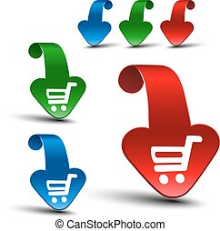 Vector red, blue and green 3D arrows with simple white symbol of shopping cart