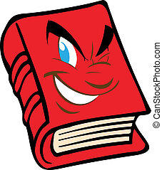 Vector red book with the face