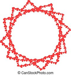 Vector red border photo frame made of hearts in shape of star on white background isolated.