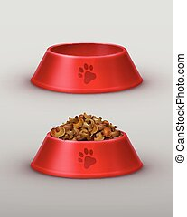Vector red bowls