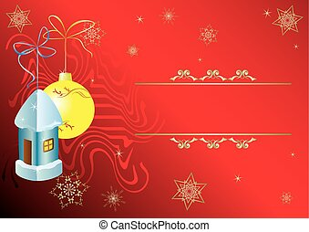 vector red card with christmas decorations