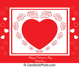 red card with heart in flowers