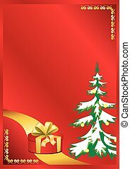 vector red card with new year tree