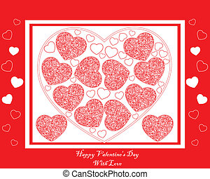 red card with red and white hearts