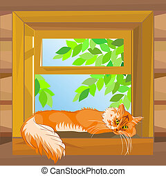 vector red  cat on a summer day lying on the windowsill