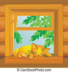vector, red cat on a summer day sleeping on the windowsill