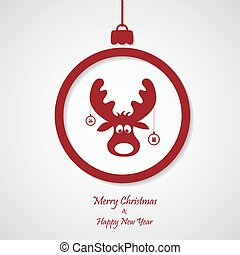 vector red christmas background with deer. cut paper design.