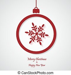vector red christmas background with snowflakes. cut paper design.