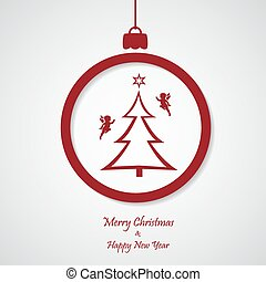 vector red christmas background with tree and angel. cut paper design.
