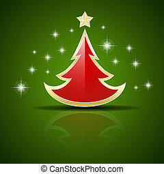 Vector red Christmas tree on green background with stars