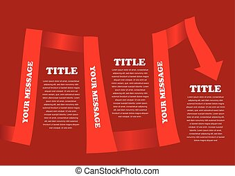 Vector red colored ribbon layout