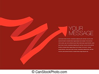Vector red colored ribbon layout Design
