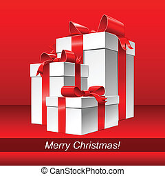 Vector red cristmas background with gifts