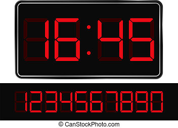 Digital Clock - Vector Red Digital Clock