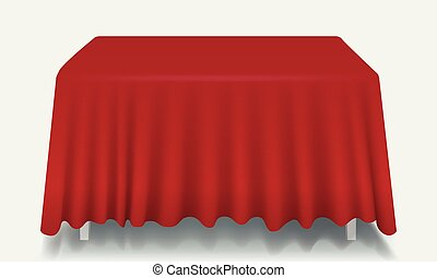 Vector red Empty Rectangular Table with Tablecloth Isolated.