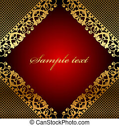 Vector red frame with gold lace