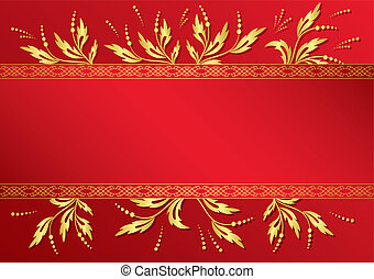 vector red frame with golden decor