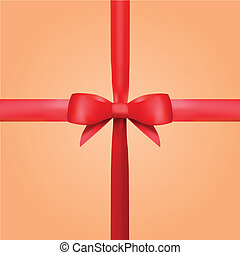 Vector Red Gift Ribbon with Bow