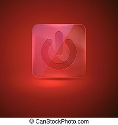 vector red glass button with power icon