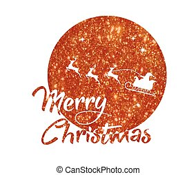 red glitter Santa Claus, reindeer, moon poster with Merry Christmas word