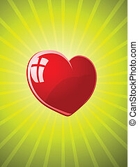 Vector red glossy heart