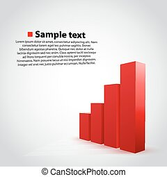 Vector red graph chart background.