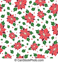 Vector red, green poinsettia flower and holly berry holiday seamless pattern background. Great for winter themed packaging, giftwrap, gifts projects.