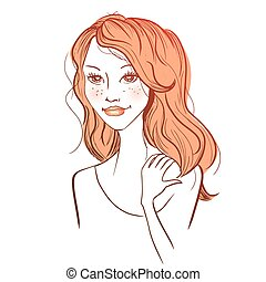 Vector red haired woman - Vector illustration of a young red...