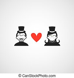 red heart for man and woman