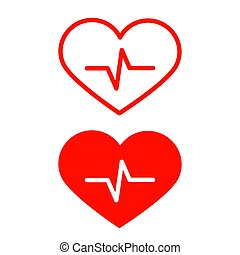 Vector Red Heart Icons Set with Cardiogram Symbol Isolated on White Background