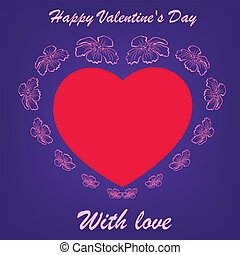 red heart in flowers on blue background